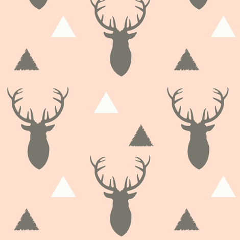 Woodland_Deer_Triangles_Light_Blush fabric by googoodoll on Spoonflower - custom fabric