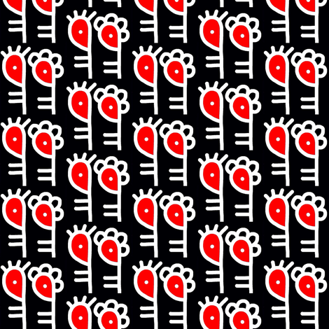Zombie Apocalypse Red Black fabric by eve_catt_art on Spoonflower - custom fabric