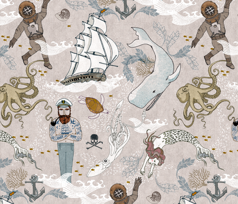Cephalopods + Old Sea Dogs (LARGE) fabric by nouveau_bohemian on Spoonflower - custom fabric