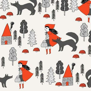 Red Riding Hood fabric - Off White by Andrea Lauren