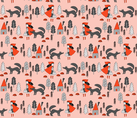 Red Riding Hood - Pale Pink by Andrea Lauren  fabric by andrea_lauren on Spoonflower - custom fabric