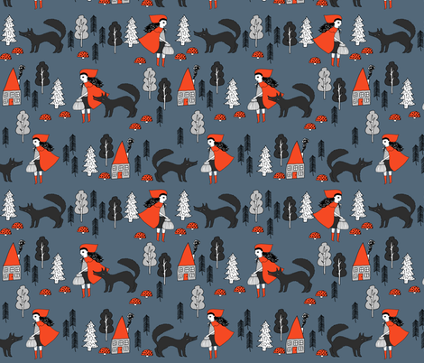 Red Riding Hood - Payne's Grey by Andrea Lauren  fabric by andrea_lauren on Spoonflower - custom fabric
