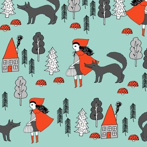 Red Riding Hood - Pale Turquoise by Andrea Lauren