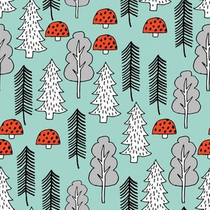 Trees - Red Riding Hood - Pale Turquoise by Andrea Lauren