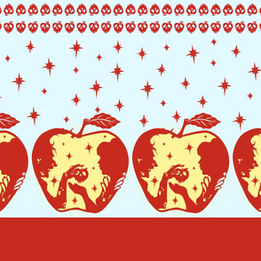 Snow White Blue Apple Border Print