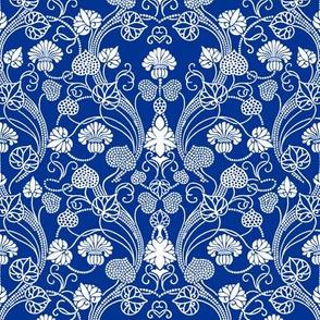 lotus damask navy blue