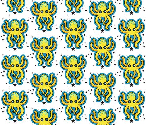 Yellow Octopus Confetti fabric by pumpkinbones on Spoonflower - custom fabric