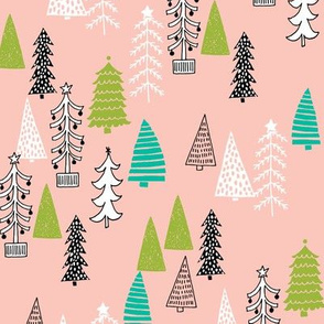 christmas tree forest // christmas pink and green cute tree fabric pink and green christmas design best christmas fabric