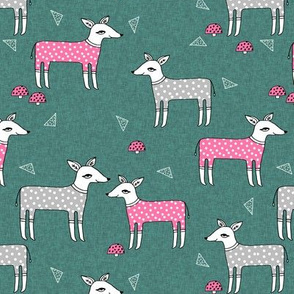 Reindeer Pajamas - Evergreen Linen with Raspberry Pink and Slate grey PJs by Andrea Lauren