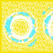 great lakes fish towel yellow and aqua