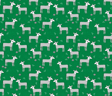 Reindeer Pajamas - Kelly Green Linen with Slate Grey PJs by Andrea Lauren fabric by andrea_lauren on Spoonflower - custom fabric