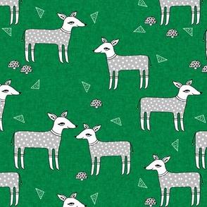Reindeer Pajamas - Kelly Green Linen with Slate Grey PJs by Andrea Lauren