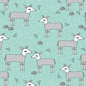 Reindeer Pajamas - Slate Grey and Pale Turquoise by Andrea Lauren