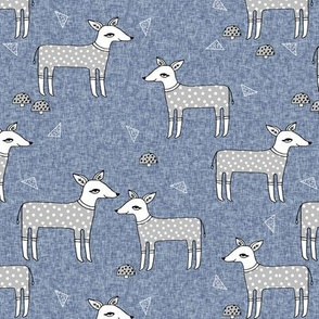 Reindeer Pajamas - Stonewash Blue and Slate Grey by Andrea Lauren