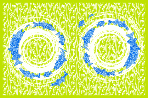 great lakes fish towel chartreuse and azure fabric by keweenawchris on Spoonflower - custom fabric