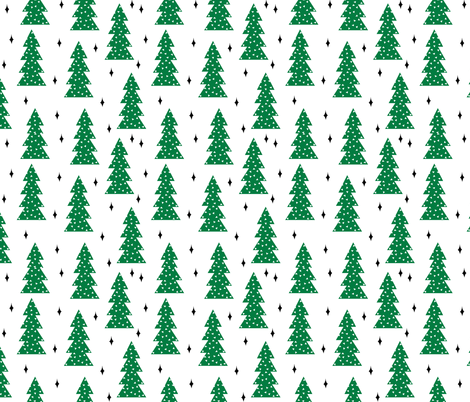 christmas trees // green christmas tree forest xmas holiday christmas forest trees cute scandi simple christmas fabric fabric by andrea_lauren on Spoonflower - custom fabric