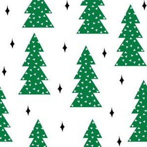 christmas trees // green christmas tree forest xmas holiday christmas forest trees cute scandi simple christmas fabric