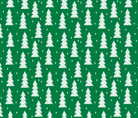christmas tree // christmas tree green fabric cute christmas design by andrea lauren scandi winter simple christmas design fabric by andrea_lauren on Spoonflower - custom fabric