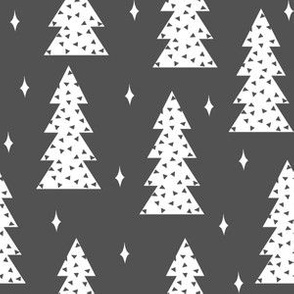christmas tree // christmas holiday xmas tree charcoal grey winter fabric scandi cute fabric by andrea lauren