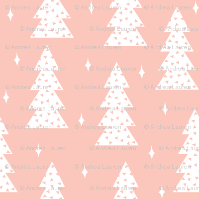 Perfect Christmas Tree Fabric // Cute Christmas Pastel Pink Light Christmas Fabric  Trees Winter