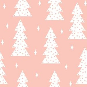 christmas tree fabric // cute christmas pastel pink light christmas fabric trees winter