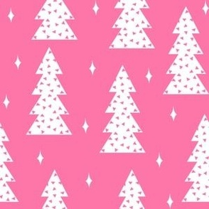 christmas tree // christmas trees pink christmas girls sweet holiday fabric christmas fabric baby