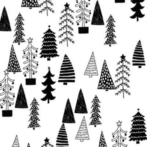 Christmas Tree Forest - Black and White by Andrea Lauren