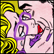 8 pop art comics girl woman kiss hug vintage retro purple spectacles glasses shirt roy lichtenstein inspired crying tears