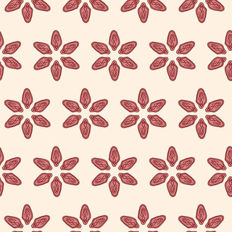 Vagina Petals in Cream fabric by joanandrose on Spoonflower - custom fabric