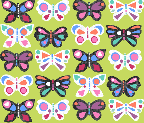 Butterfly Parade Citrus fabric by elephantandrose on Spoonflower - custom fabric