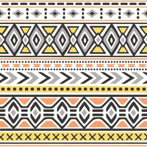Tribal Aztec Rows in Yellow Orange