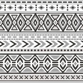 Tribal Aztec Rows in Black White Grey