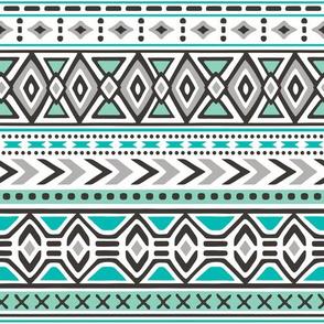 Tribal Aztec Rows in Mint Green