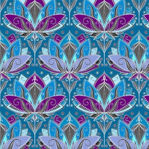 Art Deco Lotus Rising in Teal, Blue and Deep Plum Purple