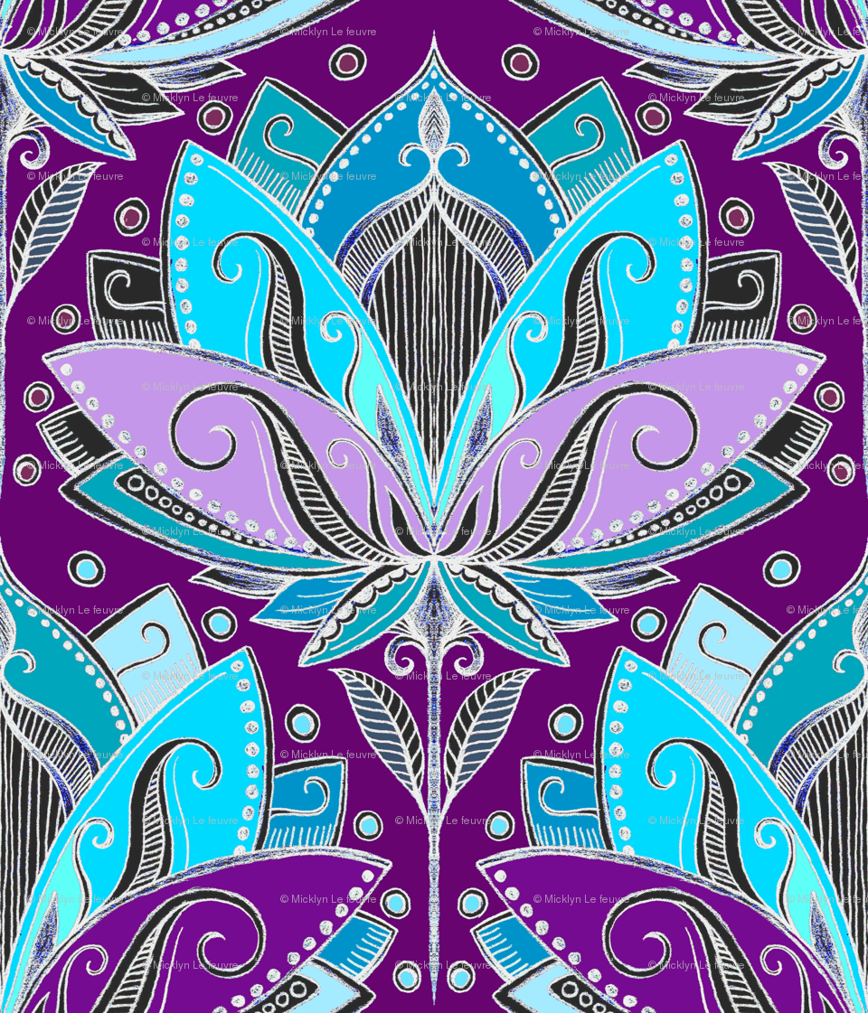 Art deco lotus rising in turquoise purple and teal wallpaper art deco lotus rising in turquoise purple and teal wallpaper micklyn spoonflower izmirmasajfo