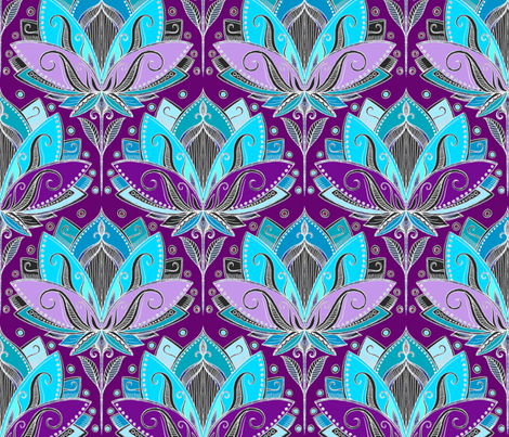 Art Deco Lotus Rising in Turquoise, Purple and Teal fabric by micklyn on Spoonflower - custom fabric