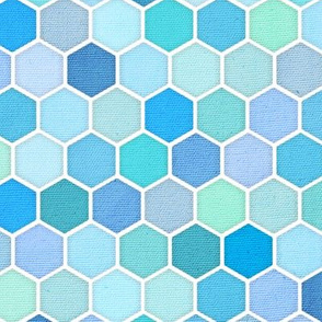 Mini Blue Green Honeycomb Hexagons