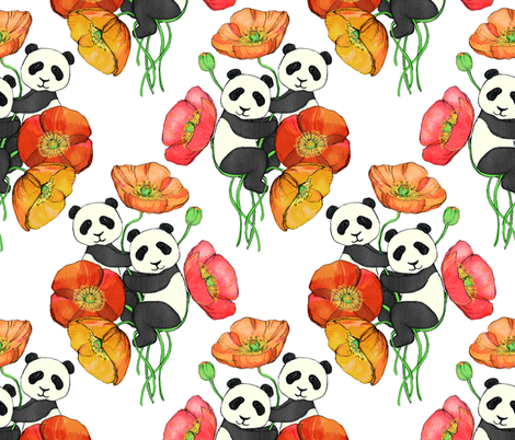 Poppies and Pandas fabric by micklyn on Spoonflower - custom fabric