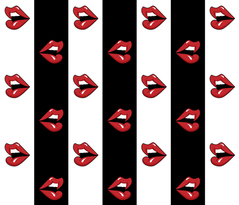Pop Art :  Red Lips fabric by mia_valdez on Spoonflower - custom fabric