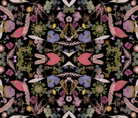 Midnight floral mauves fabric by mypetalpress on Spoonflower - custom fabric