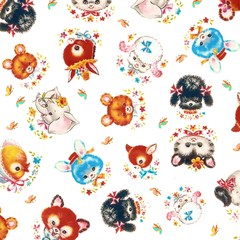 Baby Animals tossed fabric by parisbebe on Spoonflower - custom fabric