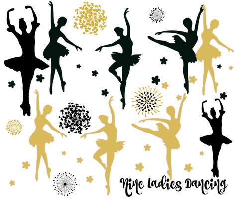 NINE LADIES DANCING fabric by bluevelvet on Spoonflower - custom fabric