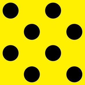 Canary Yellow  + Polka Black (1 and a half inch) Dots
