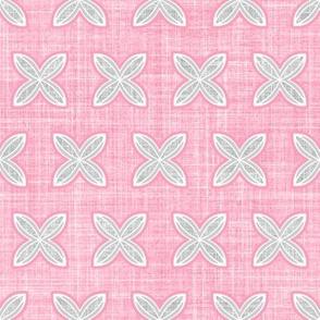 Faux linen cuatro pink