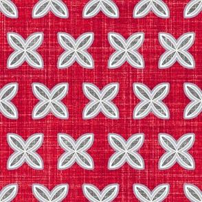 Faux linen cuatro red