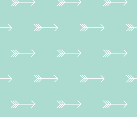 Mint Arrow // large horizontal fabric by charliejane on Spoonflower - custom fabric