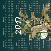2017 Owl Flight Teal Blue Tea Towel Calendar