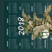 2018 Owl Flight Teal Blue Tea Towel Calendar