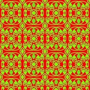 Smiling Goblins Neon Green on Red