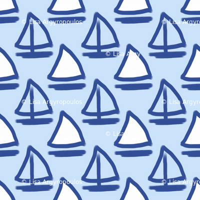 Blue Sailboats